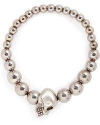 Alexander McQueen - Skull Charm Metal Ball Bracelet - Lyst
