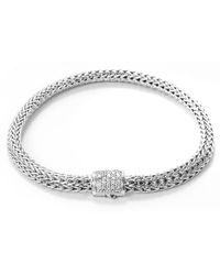 John Hardy - Diamond Silver Extra Small Woven Chain Bracelet - Lyst