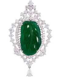 LC COLLECTION - Diamond Jade 18k White Gold Leaf Pendant - Lyst