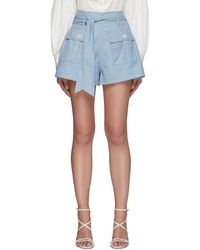 C/meo Collective Magnetised' Belted A-line Flap Pocket Shorts - Blue