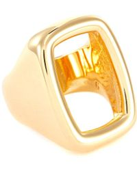 Ivi Gold Plated Large Signet Ring - Metallic