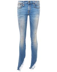 R13 - 'kate Skinny' Shredded Angled Cuff Jeans - Lyst