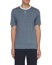 Theory Gaskell Striped Henley T-shirt - Blue