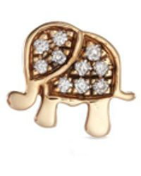 Loquet London | 'elephant' Diamond 14k Yellow Gold Single Stud Earring – Happiness | Lyst