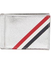 Thom Browne Diagonal Stripe Bifold Money Clip Wallet - Multicolor