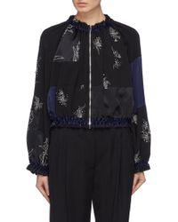 3.1 Phillip Lim - Embellished Ruched Patchwork Silk Bomber Jacket - Lyst