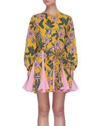 RHODE Ella' Floral Print Pleated Hem Dress - Multicolour