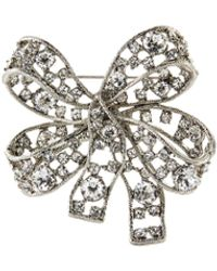 Kenneth Jay Lane Antique Crystal Silver Bow Brooch - Metallic