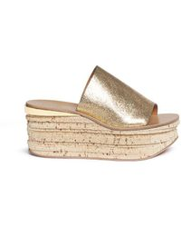 Chloé - 'camille' Cork Wedge Leather Slide Sandals - Lyst