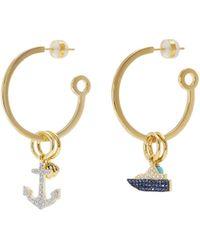 HEFANG 'cruise' Mismatched Hoop Drop Earrings - Metallic