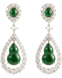 LC COLLECTION - Diamond Jade 18k White Gold Gourd Drop Earrings - Lyst
