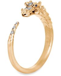 John Hardy - Diamond Sapphire 18k Yellow Gold Naga Cuff - Lyst