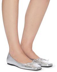 Pedder Red Benedetta' Square Toe Leather Ballerina Flats - Metallic