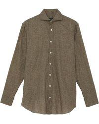 Lardini Herringbone Print Cotton Shirt - Green