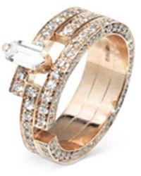 Dauphin 'disruptive' Pavé Diamond 18k Rose Gold Three Tier Ring - Metallic