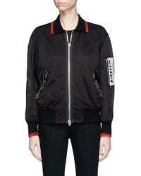 Alexander Wang Leather Patch Piercing Mesh Bomber Jacket - Black
