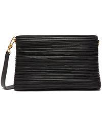 Nanushka 'adria Small' Pleated Vegan Leather Crossbody Bag - Black