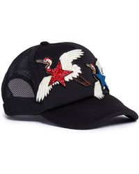 Venna - Strass Star Crane Embroidered Baseball Cap - Lyst