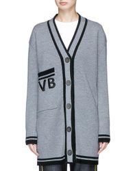 Victoria, Victoria Beckham Logo Embroidered Oversized Merino Wool Cardigan - Grey