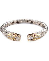 John Hardy - Diamond Ruby 18k Yellow Gold Silver Small Naga Cuff - Lyst