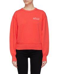 Rag & Bone - 'hello' Slogan Embroidered Sweatshirt - Lyst