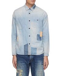 FDMTL Grided Stitching Patchwork Washed Denim Shirt Men Clothing Shirts Grided Stitching Patchwork Washed Denim Shirt - Blue