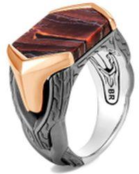 John Hardy 'asli Classic Chain' Red Tiger Sterling Silver Bronze Signet Ring - Metallic