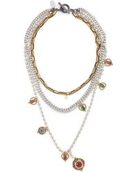 Venna - Pendant Charm Multi Chain Tiered Necklace - Lyst