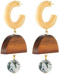 Sophie Monet 'the Chelsea' Link Tree Agate Bead Wood Drop Hoop Earrings - Metallic