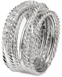 David Yurman Diamond Silver Multi Row Crossover Wide Band Ring - Metallic