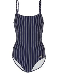 Solid & Striped The Nina Pin-striped Swimsuit - Blue