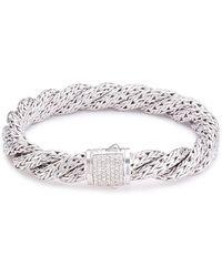 John Hardy - Diamond Silver Twist Medium Woven Chain Bracelet - Lyst