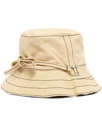 Bernstock Speirs Contrast Stitch Ribbon Tie Canvas Bucket Hat - Natural
