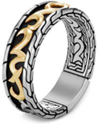 John Hardy 'classic Chain' 18k Gold Silver Band Ring - Metallic