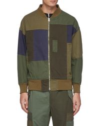 FDMTL Multi Coloured Patchwork Cotton Bomber Jacket - Green