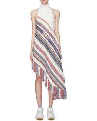 Angel Chen Patchwork Fringe Asymmetric High Neck Sleeveless Dress - Multicolour