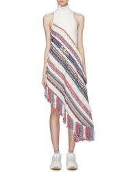 Angel Chen Patchwork Fringe Asymmetric High Neck Sleeveless Dress - Multicolor