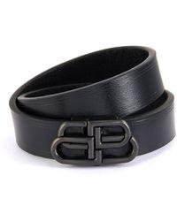 Balenciaga 'bb' Logo Double Tour Leather Bracelet - Black