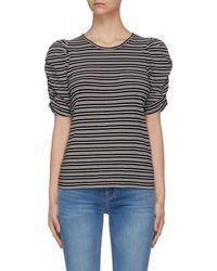 FRAME Gathered Sleeve Pinstripe Knit T-shirt - Multicolour