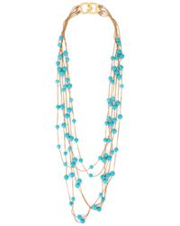 Kenneth Jay Lane Gold Strands Turquoise Beads Necklace - Blue