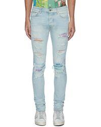 Amiri Distressed Watercolour Skinny Jeans - Blue