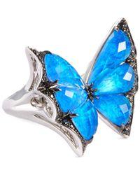 Stephen Webster 'fly By Night' Black Diamond Quartz Crystal Haze 18k White Gold Ring - Blue