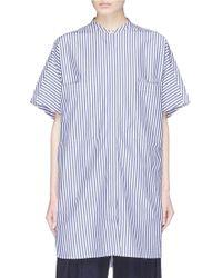 Ffixxed Studios - Drawstring Cuff Mandarin Collar Oversized Stripe Shirt - Lyst