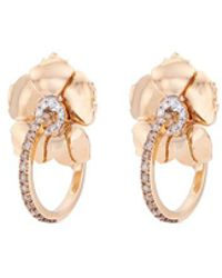 FerrariFirenze 'sunflower' Diamond 18k Rose Gold Hoop Earrings - Metallic