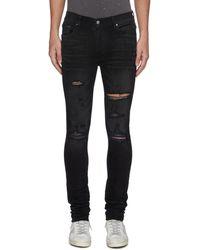 Amiri 'thrasher Plus' Distressed Skinny Jeans - Black
