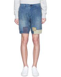 Denham 'tokyo' Patchwork Drop Crotch Shorts - Blue