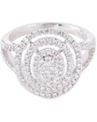 LC COLLECTION   Diamond 18k Gold Circular Cutout Ring   Lyst