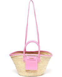 Jacquemus 'le Panier Soleil' Hand Held Straw Tote Bag - Pink