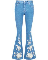 Gucci Metallic Floral Embroidered Boot Cut Jeans - Blue
