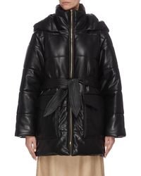 Nanushka - 'lenox' Sash Belt Vegan Leather Hooded Puffer Coat - Lyst